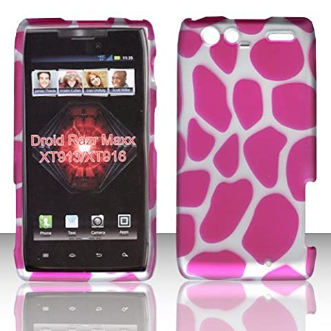 2D Pink Giraffe Motorola Droid RAZR MAXX , XT913/ XT916 Verizon Case Cover Hard Protector Phone Cover Snap on Case Rubberized Frosted Matte Surface Hard