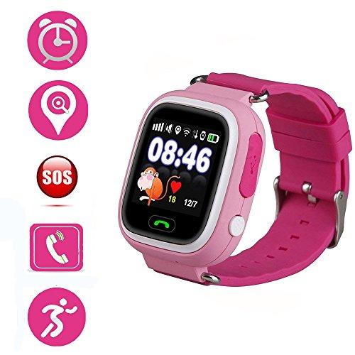 Jslai Montre Connectée Enfant GPS Montre Tracker Écran Tactile Smartwatch pour Enfants Filles Garçons avec SOS Anti-perdu Réveil GPS Enfant Tracker Smart Montre-Bracelet pour iPhone Android Compatible (Rose)