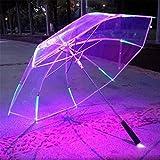 NWYR Parapluie LED 7 Color Light Umbrella Protection UV Parasol étanche Eclairage de nuit Parapluie éclair avec torche , transparent