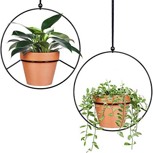 Mkono Pflanzenhänger aus Metall zum Aufhängen an der Wand, modernes Heimdeko, Blumentopf nicht im Lieferumfang enthalten 2 Pcs Circle Black - Hanging