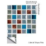ENCOFT 24pz 15x15cm Piastrelle Adesive Cucina, Adesivi per Mattonelle Bagno, PVC Impermeabile Autoadesivo Fai da Te Multicolore