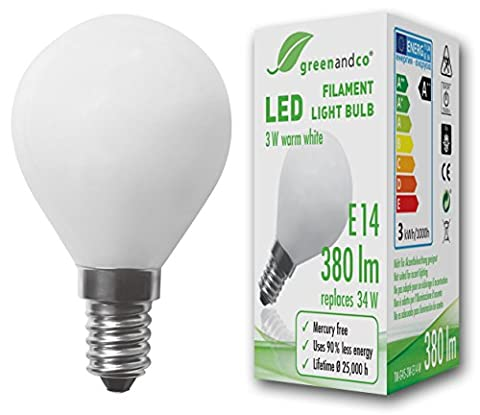 greenandco® E14 G45 LED Filament Bulb frosted 3W (replaces 34W) 380lm 2700K (warm white) 360° beam angle 230V AC glass