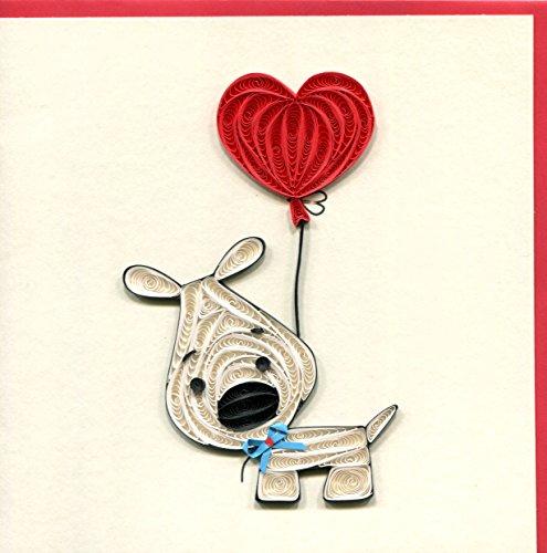 Origami QU045–Geburtstagskarte, Hund mit Herz, filigran von Papier, Origami (Geburtstagskarte Mit Hund)