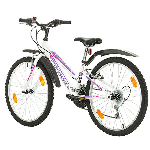 51LuLTHgFkL. SS500  - Multibrand, PROBIKE ADVENTURE, 24 inch, 290 mm, Mountain Bike, 18 speed, Mudgard Set, For Women, Kids, Juniors, White