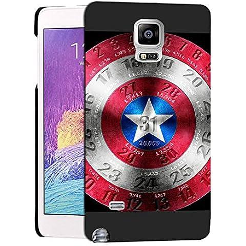 Cute Captain America Logo Samsung Note 4 Custodia Protettiva, Galaxy Note 4 Captain America Logo - [ Marvel Comics ] Cabina telefonica CustodiaCase, Captain America Logo Durevole Samsung Galaxy Note 4 Case Cover For Ragazzi