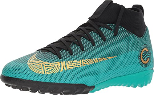 NIKE Junior Superfly 6 Academy GS CR7 TF Football Boots AJ3112 Soccer Cleats (UK 5 US 5.5Y EU 38, Clear Jade Vivid Gold 390) (Jungen Cleats Football)