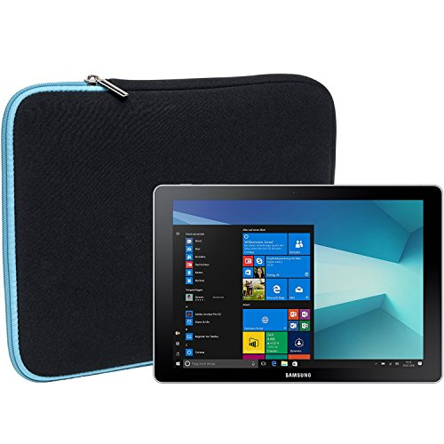 """Slabo Tablet Tasche Schutzhülle für Samsung Galaxy Book 10.6\"""" (W620 & W627) Hülle Etui Case Phablet aus Neopren – TÜRKIS/SCHWARZ"""