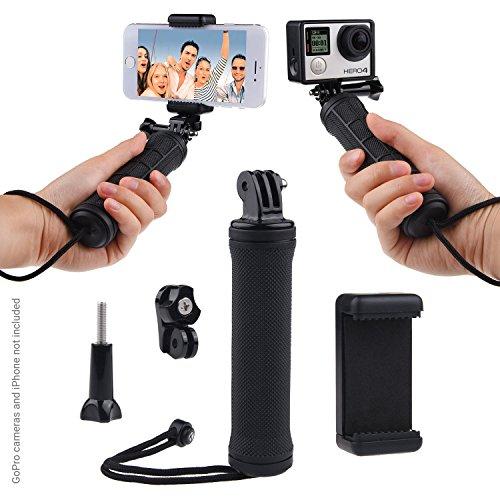 Poignée Grip stable pour GoPro HERO5 / HERO4, Session, Black, Silver, Hero+ LCD, 3+, 3, 2, 1 et la plupart des action cams et smartphones - adaptateur trépied, adaptateur universel pour smartphone - support stable pour vos photos et selfies (Noir, Poignée Grip + adaptateur trépied + adaptateur universel pour smartphone)
