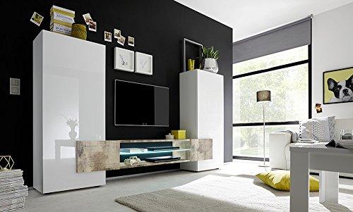 Sodani parete attrezzata mobili soggiorno 2 mobili a colonna 1 mobile tv in melamina 258x37x143cm build bianco e pero