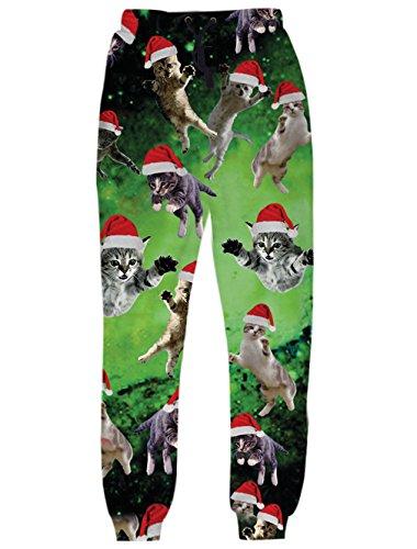ced6e8838a967 chicolife Unisex 3D Galaxy Space Weihnachten Santa Katze Print elastischen  Kordelzug Sweatpant Jogging