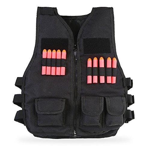 Huairdum Kinder Outdoor Weste, Schwarz Camouflage Camouflage Sport Nylon Tactic Military Enthusiasts Outdoor CS Feldschutzweste Ausrüstung Jacke mit 10 Stück Kugeln für Guns Games(#1) -