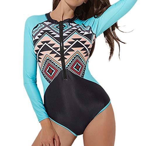 MOTOCO Sommer Damen Badeanzug Tauchanzug Einteiliger Badeanzug mit langem Ärmeldruck Eleganter Badeanzug mit weichem Körper(S(34),Blau)