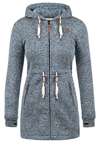 DESIRES Thora Damen Lange Fleecejacke Sweatjacke Jacke Mit Kapuze Und Daumenlöcher, Größe:XL, Farbe:Insignia Blue (1991)