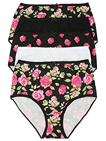 M&Co Ladies Cotton Stretch Plain And Floral Rose Print Elasticated High Waist Full Briefs - Five Pack Black