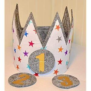 Der Wollprinz Geburtstagskrone Krone, Kinder Geburtstag Kinderkrone Geburtstagskrone, Stoffkrone bunt mit austauschbaren Zahlen