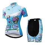 Weimostar Radsport-Trikot-Shorts für Damen Radtrikot-Sets mit Reißverschluss Zip-Shirts Kurzarm MTB-Tops Rennrad-Fahrradbekleidung Sommerrennen für Damen Damen Schnell trockene Blaue Sets Größe M