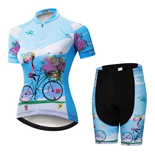 Weimostar Radsport-Trikot-Shorts für Damen Radtrikot-Sets mit Reißverschluss Zip-Shirts Kurzarm MTB-Tops Rennrad-Fahrradbekleidung Sommerrennen für Damen Damen Schnell trockene Blaue Sets Größe XL