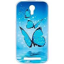 Beiuns para Doogee Valencia 2 Y100 / Y100 Pro (5 pulgadas) Carcasa de TPU y silicona Funda - O513 Grupo de las mariposas