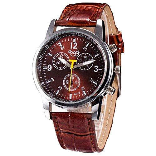OSYARD Herren Uhren, Herren Quarts Uhr Mode Analog Legierung Armbanduhr Geschäft Beiläufig Bralette Uhr Geschenk Rundes Zifferblatt Lederband Uhren,Luxus Mode Casual Business Armbanduhren -
