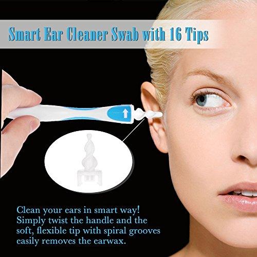 Herramienta de limpieza Tpocean Smart para quitar el cerumen de los oídos con 16cabezales de repuesto
