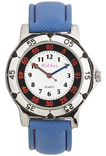 Kinder Armband Uhr für Junge COOL, SPORTLICH UND STARK, wasserfest (3 ATM), hohe Qualität Quarz Mechanismus Seiko, Batterie Sony, in Geschenk-Box, Kiddus RE0272