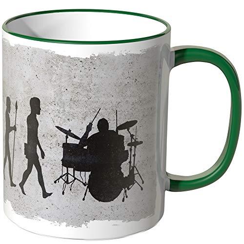 JUNIWORDS Tasse - Wähle Motiv & Farbe -Evolution Schlagzeug - Grün