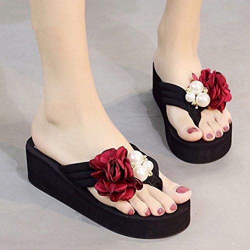 Lady Slipper Black Soles Optionale Art dicken Boden Seaside Blumen Anti-Rutsch-Feel Free Match Beach Schuhe ( Farbe : B , größe : EU39/UK6.5/CN40 ) B Free Schuhe