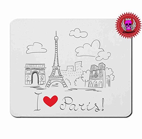 """Preisvergleich Produktbild Mousepad 5mm Dicke """" I Love Paris """" in ver. Strken mit Spruch Perfekter Halt durch Gummi Unterseite"""
