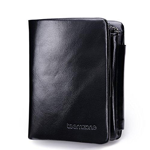 b10008a22030f4 Uomo Pelle RFID Blocking Portafogli Tri-fold Portamonete Carta di credito  borsellino Cerniera Moneta Borse