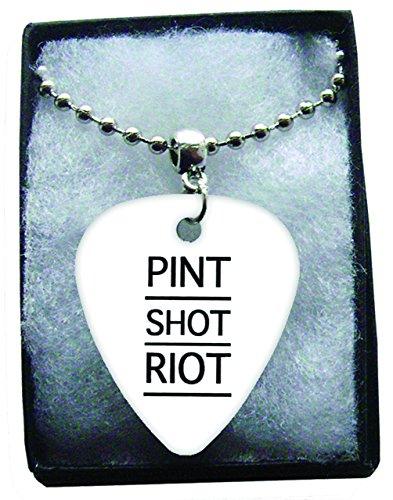 Pint Shot Riot Metal Guitar Plektron Necklace Ball Chain Kette Pint Ball