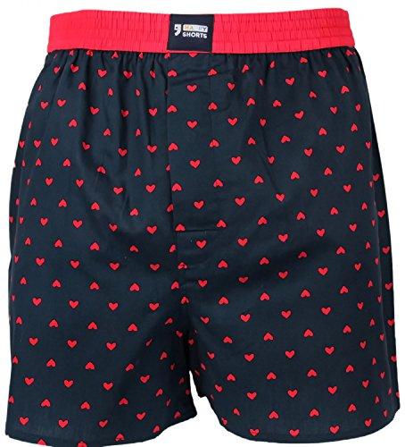 Happy Shorts Webboxer Herren Boxer Motiv Boxershorts Farbwahl, Grösse:M - 5-50, Präzise Farbe:Herz - Hearts -