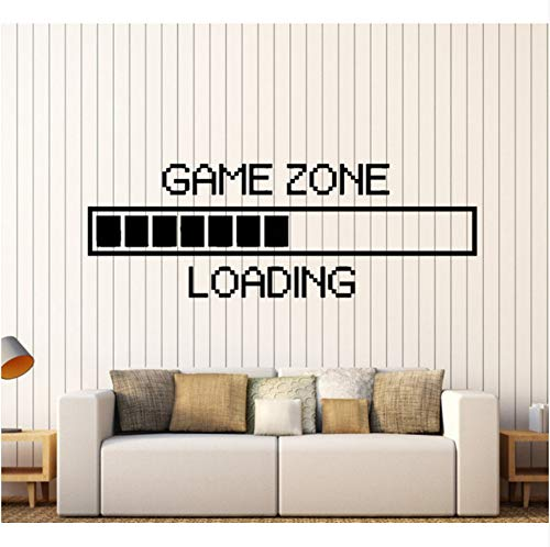 Wuyyii 58X22 Cm Spiel Zone Computer Gaming Wandaufkleber Vinyl Home Decor Loading Video Spiel Tapete Kunst Wandbilder Dekoration (Computer-spiele Halloween Kindergarten)