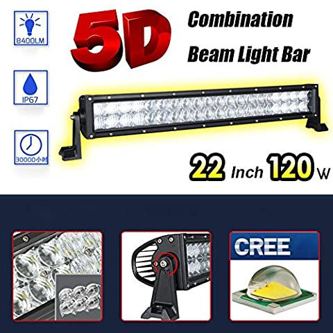 FUSKANG 22 pouces 120W 5D Light Bar, Cree LED Car Headlight Lampes de travail Floodlight Spot Beam Combo Lights Outdoor Waterproof IP67 SUV Off Road Éclairage de conduite pour bateaux, 12V