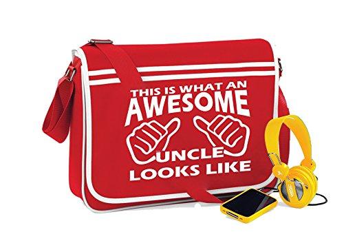 Awesome Uncle-Unisex-lustige Sprüche Neuheit Retro Messenger Bag- Kirschrot