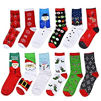 Fascigirl 12 pares Calcetines de Navidad Calcetines de invierno Calcetines Navidad Mujer Navidad Algodón Calcetines de Felpa Cálidos Calcetines Navidad Regalo Calcetines para Adultos