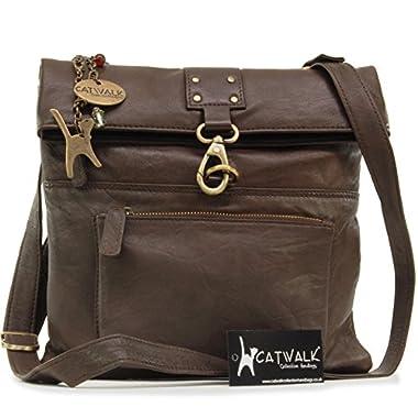 Catwalk Collection Handbags – Ladies Leather Cross Body Bag – Adjustable Shoulder Strap – DISPATCH