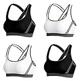 Vertvie 4er Pack Damen Sport BH Komfort Starker Halt Gepolsterter Push up Ohne Bügel Sport BH Bustier für Yoga Fitness-Training(XXL:90C/90D/95A/95B, Schwarz+Weiß)