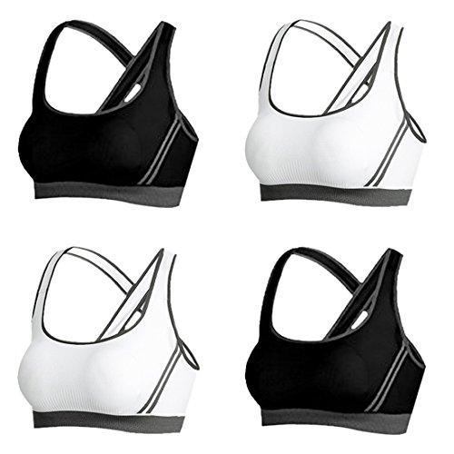 Vertvie 4er Pack Damen Sport BH Komfort Starker Halt Gepolsterter Push up Ohne Bügel Sport BH Bustier für Yoga Fitness-Training(S: 70A/70B/70C/70D, Schwarz+Weiß)