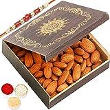 Ghasitaram Gifts Rakhi Gifts for Brothers Rakhi Dryfruits - Small Wooden Almond Box with Red Pearl Rakhi
