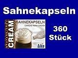 360 Stück Liss Sahnekapseln, geeignet für handelsübliche Sahnebereiter von Liss, Mosa, Kayser, isi