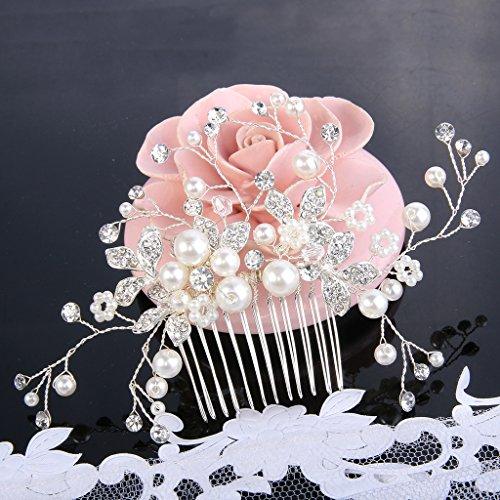 Clearine Damen Künstliche Perlen Kristall Blume Handarbeit DIY Braut Hochzeit Haarkamm Haarschmuck Ivory-farbe - 5