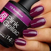 PINK Gellac 173 Burdeos UV nagellack. profesional Gel Esmalte de uñas Goma Laca para al menos 14 días Perfecto brillante uñas