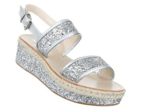 Damen Sandalen Schuhe Sommerschuhe Strandschuhe Plateau Glitter Schwarz Gold silber 36 37 38 39 40 41 Silber