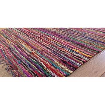 MB Warenhandel24 Handwebteppich Fleckerlteppich einfarbig