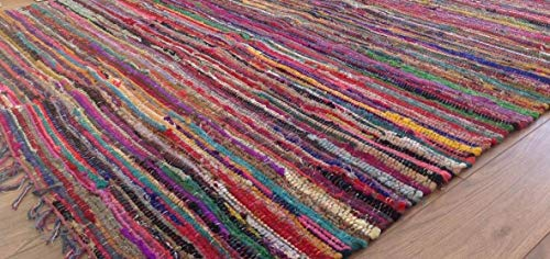 Second Nature Online Rag Rug Multi Colour Fair Trade Shabby Chic Chindi Flat Weave Reversible Indian Hand Loomed Small Medium Large Runner Square Area Mat Festival Camping Glamping Bell Tent - Loom Natur