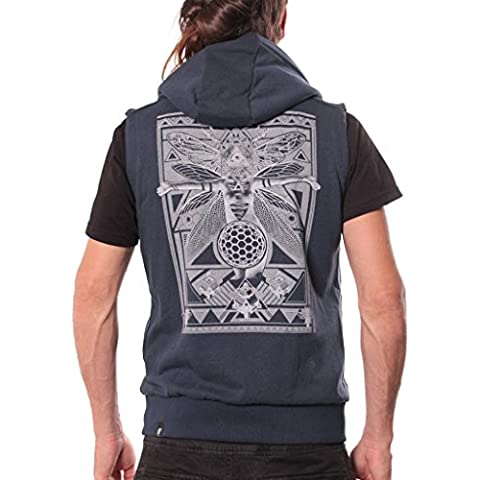 Fly Illuminati Gilet for Men - Sleeveless Zip Up Hoodie - Premium Urban Clothing - Medium