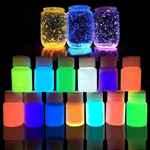 Upxiang 20g Nicht-toxische Acryl Leuchtende Farbe, Phosphoreszierende Glühen in der Dunkelheit, Bright Pigment, DIY Party Dekoration (L) -