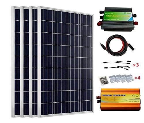 El paquete incluye: 4 paneles solares de 100 W con conector MC4. 1 inversor de onda sinusoidal pura de 12-220 V 1000 W. 1 controlador solar de 45 A. 4 juegos de kit de montaje estilo Z. 1 par MC4 con cable solar de extensión de 5 metros 4 mm², color ...