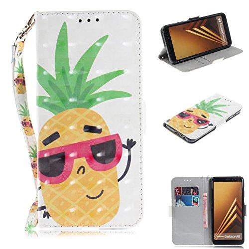 Cozy Hut Samsung Galaxy A8 2018 Hülle, PU Leder Tasche mit Intern Karte Schlitz, Magnetic Closure mit Standfunktion und Handy Gürtel Schutzhülle für Samsung Galaxy A8 2018 - Sonnenbrille Ananas