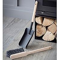 Tutti Decor Jutland Fireside Dustpan and Brush, Steel, Matt Black, Scandinavian style.